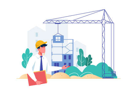 Flat isolated businessman constraction foreman building with crane. Concept man employee character working with heavy vehicle, manager at work. illustration.