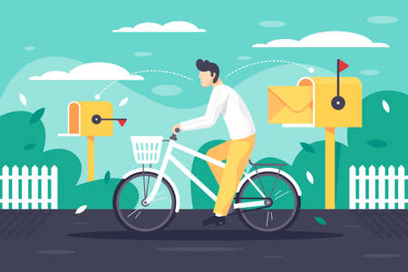 Flat young man deliver mail on bicycle. Concept male employee character on classic postman vehicle in urban street with yellow mailbox at work. illustration.