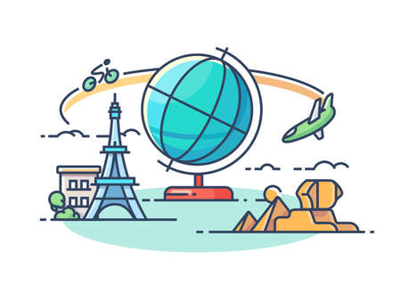 Travel around world. Concept of active rest and sightseeing. illustration Zdjęcie Seryjne