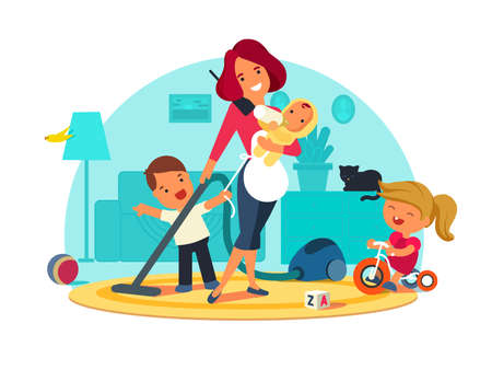 Busy mother feeds child, cleans room and speaks by phone. illustration