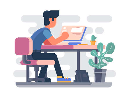 Guy working at computer. Freelancer makes web project. ilustration Archivio Fotografico - 131646570