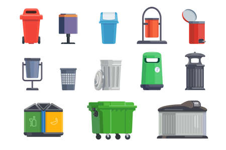 Set of garbage cans for home and street isolated on white background. illustration
