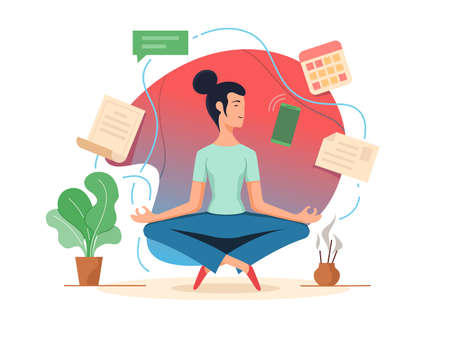 Woman balancing in lotus position. Tranquility and organization task. illustration