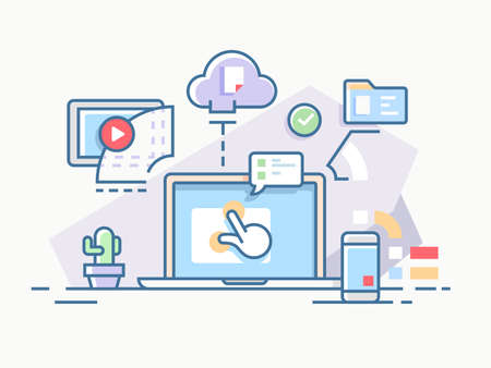 Interactive workflow process using computers and cloud services. illustration.