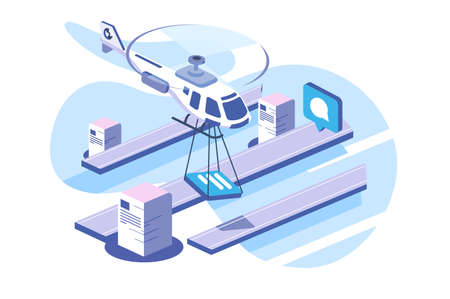 Isometric 3d online data helicopter delivery documents. Concept isolated modern wireless transaction information. Low poly. illustration.