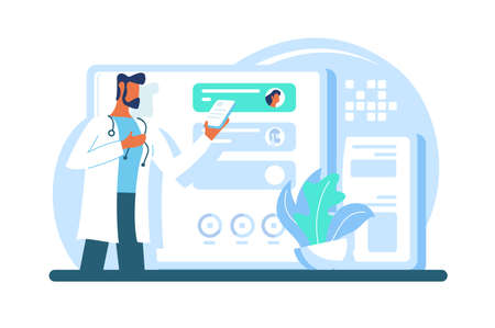 Flat modern adult doctor with beard, tablet with app at work. Concept medic character with mobile data and plant. illustration.