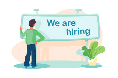 Flat man standing front banner with sign we are hiring. Concept businessman manager character with plant, relationship tamplate. illustration.