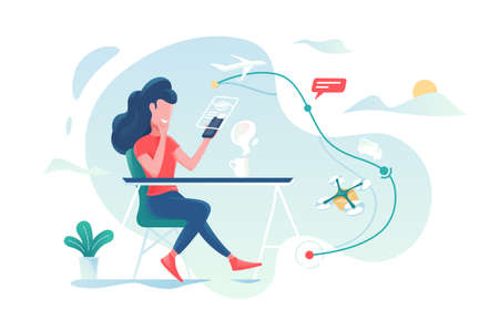 Girl tracks tracking of parcel on screen smartphone. illustration Stock Photo