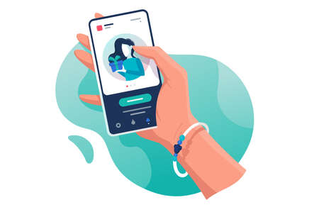 Flat isolated hand with phone with contacts woman with gift. Concept electronic mobile device, communication. illustration.