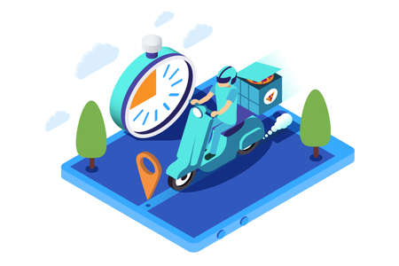 3d isometric man employee fast delivers pizza on motorcycle. Isolated concept home food service transportation, online order with vehicle delivery. Low poly. illustration.