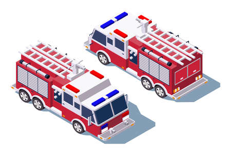 3d isometric fire truck for fire extinguishing. Isolated concept public support vehicle, professional service for firefighting. Low poly. illustration. Фото со стока