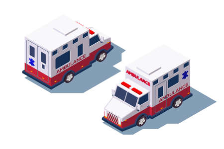 3d isometric ambulance medical car for first aid. Isolated concept public support vehicle, professional service for transporting patients. Low poly. illustration.