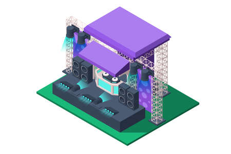 3d isometric concert stage of spotlights, acoustic speakers, music equipment. Isolated concept public stadium structure holding events of pop festival. Low poly. illustration.
