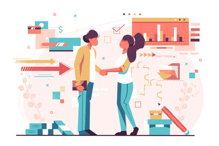Man and woman shaking hands vector illustration. Businesspeople standing and handshaking after signing profitable bargain on graph, charts background flat style design. Investment concept