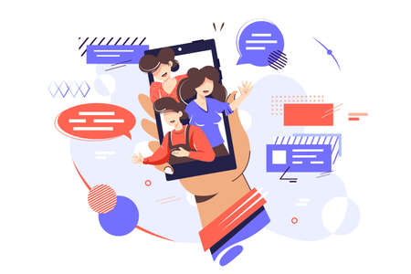 Friends contacts in smartphone vector illustration. Person holding cellphone in hand. People with speech bubbles waving hello on gadget screen flat style design. Communication, social networks concept