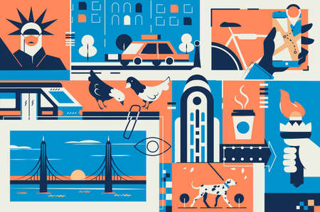 New York postcard with city landmark in frame