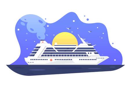 Modern passenger cruise liner away tropical harbor