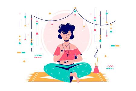 Woman at meditation session 일러스트