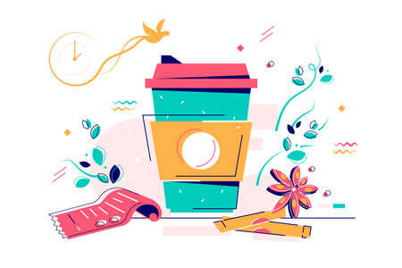 Cardboard cup of warm coffee with sugar and anise star. Isolated concept heat drink in container near check for break using clock with bird for time control. Vector illustration. Illustration