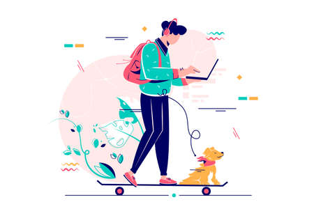 Young man freelancer with dog using laptop run on skateboard. Isolated concept handsome businessman character on modern vehicle, riding goes to work. Vector illustration