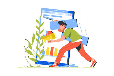 Breakage in wireless device and programmer character illustration. Male coder communication with screen of smartphone transporting files flat style concept Stock Illustration - 135471880