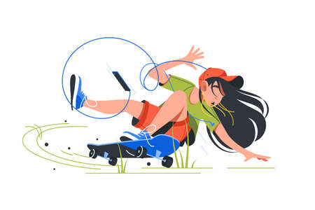 Young disappointed girl fail when riding skateboard using smartphone. Isolated concept attractive woman character in protective helmet listening music using earphones on vehicle. Vector illustration.