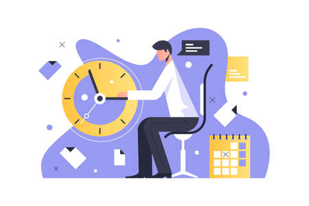 Man working in office Illustration