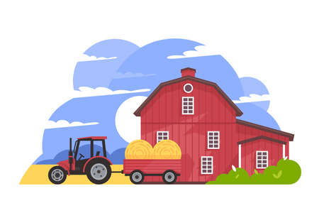 Rural valley farm countryside vector illustration. Wooden house and tractor carrying hay flat design. Cottage in nature. Landscape and family farm concept