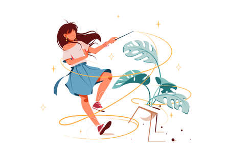 Girl with magic wand turning potted plant into something vector illustration. Fairy with powerful stick cartoon design. Sorcery and sparkly stars concept