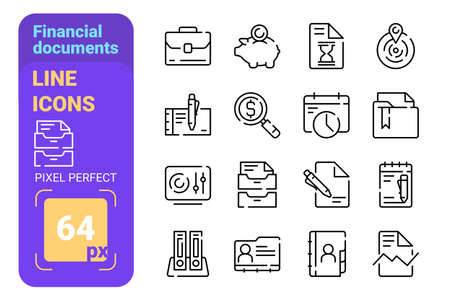 Financial documents line icons set