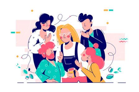 Atractiva mujer joven con taza escuchando consejos de amigos. Los personajes de personas de concepto que hablan entre ellos discuten problemas y asuntos amorosos. Ilustración vectorial.