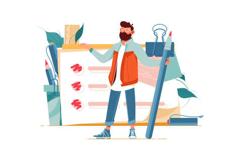 Positive man holding giant pencil at big complete checklist with tick marks vector illustration. Bearded male organizing plans and goals cartoon design. To do list and planning concept