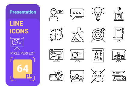 Presentation line icons set with pixel perfect Ilustração