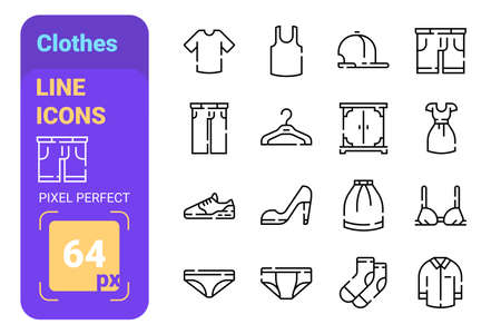 Mans and womans fashion pack of clothes icons set
