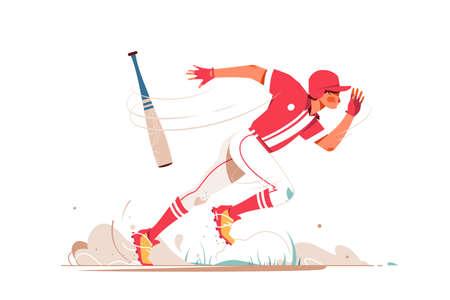 Professional baseball player running after ball Ilustración de vector
