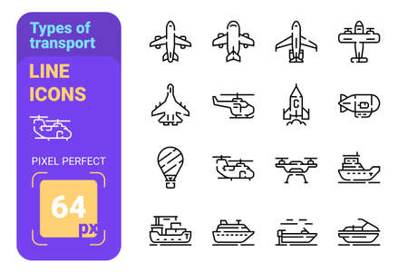Types of transport line icons set