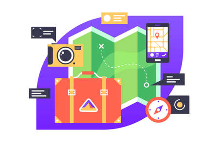 Essential set for adventurer illustration. Traveler kit with suitcase and smartphone and compass flat style design. Composition for journey. Vacation concept Zdjęcie Seryjne