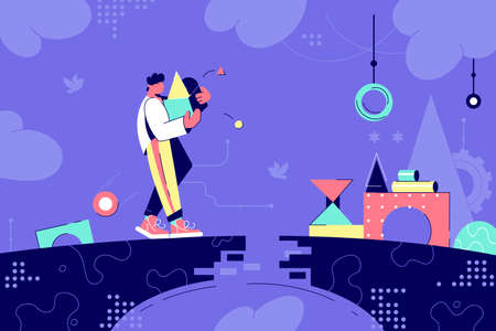 Young man silhouette moving box run into difficulties on bridge. Concept male character with carries things of geometric figures, destroyed road. Vector illustration. 일러스트