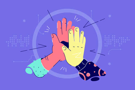 African american and asian hands give high five together. Abstract concept of diverse nationality collaborate together for successful result. Vector illustration. Illustration