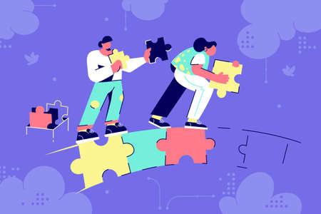 Man and woman couple silhouette building puzzle bridge in business future. Abstract concept businessman and businesswoman characters creating relationship at purple background. Vector illustration. Zdjęcie Seryjne - 140202515