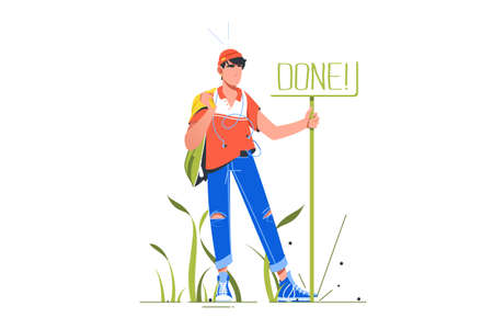 Man standing near sign done illustration. Symbol for completed things and task flat style design. Concept of good done job and accomplished work Stockfoto