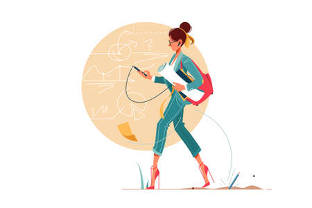 Young attraction businesswoman going to work thinking about business diagram and graphs. Isolated concept confident woman character using smartphone holding work equipment. Vector illustration.