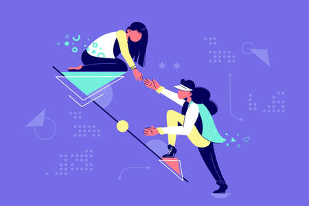 Young attractive woman mutual assistance female partners. Concept businesswomen character helping each other together in raising career. Vector illustration. Ilustración de vector