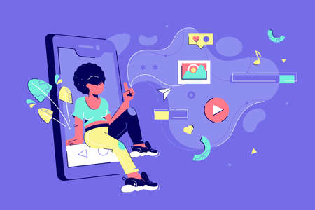 Screen of modern smartphone vector illustration. Woman sitting on cellphone screen and clicking on entertainment such as social networks and audio, video flat style concept