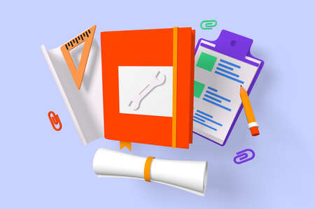 3d render design equipment of tablet, paper and scale. Isolated concept folder for work using pencil and checkboxes of tools for drawing. Low poly. illustration.