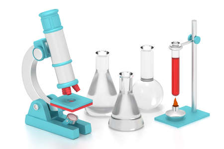 3d render laboratory front of flasks and microscope.