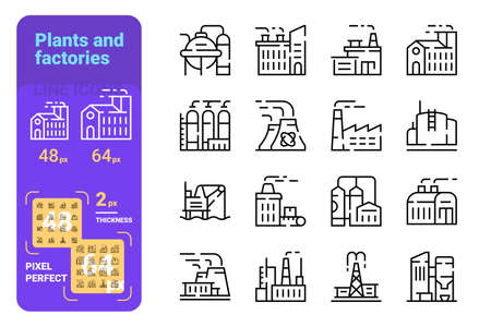 Plants and factories line icons set