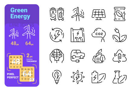 Green energy line icons set vector illustration. Collection of renewable energy symbols pixel perfect. Garbage sorting, windmill, solar panels, clean fuel, electric car, etc. Isolated on white Ilustrace