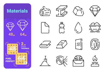 Types of materials line icons set