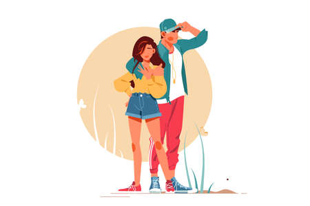 Girl and boy posing in stylish outfits Standard-Bild